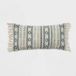 "12""x24"" Oversized Woven Pattern Lumbar Throw Pillow Blue/Cream - Threshold™   Target"