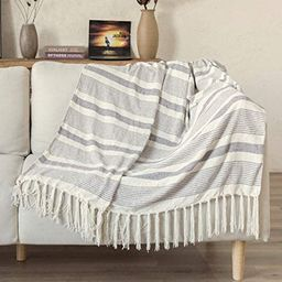 Decorative Grey Ivory Striped Throw with Fringe, Soft Chenille Knitted Farmhouse Lightweight Blan...   Amazon (US)