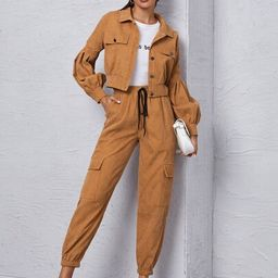 Corduroy Flap Detail Jacket With Tie Front Cargo Pants | SHEIN