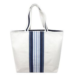 One Kings Lane Open House™ Center Stripe Canvas Tote Bag in White/Blue   Bed Bath & Beyond   Bed Bath & Beyond