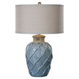 Uttermost Parterre 1-Light Hammock Weave Table Lamp in Pale Blue with Linen Shade   Bed Bath & Be...   Bed Bath & Beyond