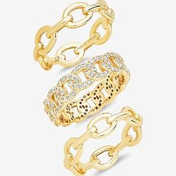 Sterling Forever Set of 3 Mixed Link Stacking Ring | Express