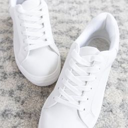 The Jenny Solid Sneakers White | The Pink Lily Boutique