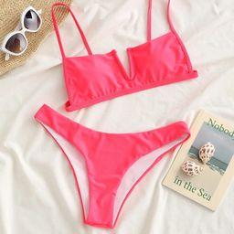 Solid V Wired Bikini Swimsuit   SHEIN