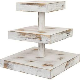 MyGift 3-Tier 12-Inch Rustic Whitewashed Wood Cupcake Desserts Stand/Appetizer Display riser | Amazon (US)