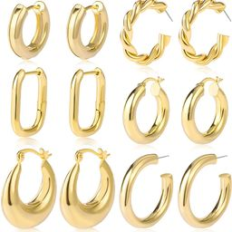 6 Pairs Gold Chunky Hoop Earrings Set for Women Hypoallergenic Thick Open Twisted Huggie Hoop Jew... | Amazon (US)