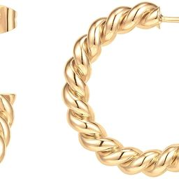 14K Gold Plated 925 Sterling Silver Twisted Rope Round Hoop Earrings in Rose Gold, White Gold and... | Amazon (US)