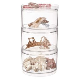Stackable Clear Plastic Hair Accessory Containers with Lids | set of 3 | Amazon (US)