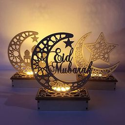 Uonlytech 3 Pcs Ramadan Mubarak Decorative Lights Eid Decorations Wooden Moon Star Lights Tableto... | Amazon (UK)