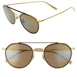 Men's Maui Jim Bowline 53mm Polarized Round Sunglasses - Gold Matte/ Black Gloss | Nordstrom