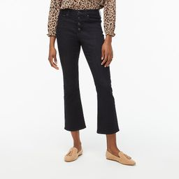 High-rise flare crop jean with button fly in oceanic blue wash | J.Crew Factory