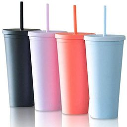 Tumblers with Lids (4 pack) 22oz Pastel Colored Acrylic Cups with Lids and Straws | Double Wall M... | Amazon (US)
