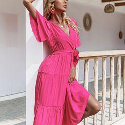 Surplice Neck Belted A-line Dress | SHEIN