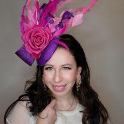 Purple kentucky derby hat fascinator bright purple sinamay bow | Etsy | Etsy (US)