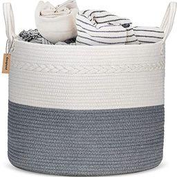 "COSYLAND Extra Large Woven Storage Basket 17""x 17""x15"" Cotton Rope Organizer Baby Laundry Baskets...   Amazon (US)"