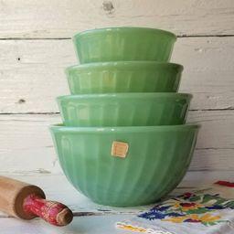 Jadeite Fire King Swirl Mixing Bowl Set  Vintage Jadeite | Etsy | Etsy (US)