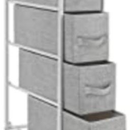 EZ Home Easy Pull Fabric Bins Furniture Storage Tower Unit, White/Gray   Amazon (US)