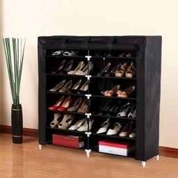 7 Tiers Portable Shoe Rack Closet Fabric Cover Shoe Storage Organizer   Overstock