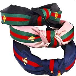 4 Pack Headbands for Women - Green Red Green Stripe Hair Hoop - Cross Knot Hair bands with Bee An...   Amazon (US)