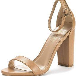 DREAM PAIRS Women's Hi-Chunk High Heel Pump Sandals | Amazon (US)