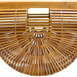 Miuco Womens Bamboo Handbag Handmade Large Tote Bag | Amazon (US)