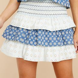 Waiting For You Navy And Sage Eyelet Skirt | Red Dress