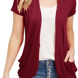 Womens Cardigans Short Sleeve Summer Lightweight Sheer Open Front Drape Sweater Tops   Amazon (US)