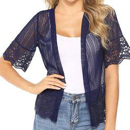 Aibrou Short Sleeve Cardigans Lace Boleras Shrugs for Women Dress S-XXL   Amazon (US)