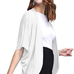Womens Short Sleeve Open-Front Batwing Cardigan - Made in USA   Amazon (US)