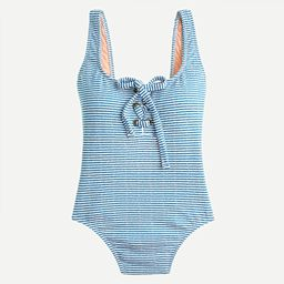Lace-up one-piece in faded stripe | J.Crew US