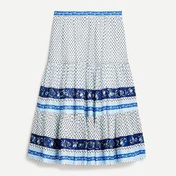 Tiered skirt in blue ribbon block print | J.Crew US