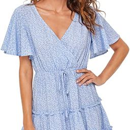 SheIn Women's Short Ruffle Sleeve Dress V Neck Floral Pleated High Waist Loose Mini Dress   Amazon (US)