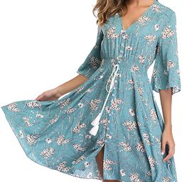 VintageClothing Women's Floral Sundresses Flowy Boho Summer Beach Dress Button Up   Amazon (US)
