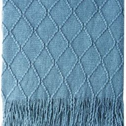 """Bourina Knitted Throw Blanket Soft Sofa Throw Couch Blanket, 50""""x60"""", Blue 