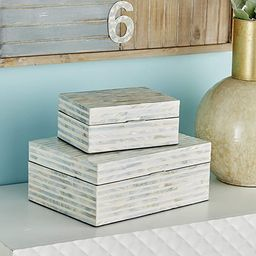 "Deco 79 41198 Shell Inlaid Wooden Boxes (Set of 2), 8"" x 12"", White | Amazon (US)"
