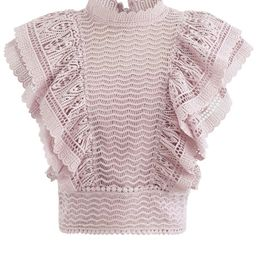 Tiered Ruffle Crochet Mock Neck Sleeveless Top in Pink | Chicwish