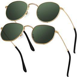 GRFISIA Small Round Polarized Sunglasses Women and MenVintage Hexagon Square Sun glasses UV400 ... | Amazon (US)