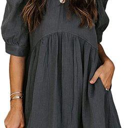 Dokotoo Womens Split V Neck Ruffle Chiffon Elegant Mini Short Skirt Dresses | Amazon (US)