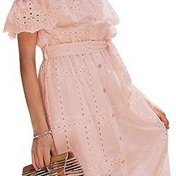 BerryGo Women's Boho White Beach Dress Embroidery Off Shoulder Ruffle Dress   Amazon (US)
