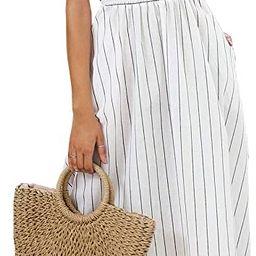 Miessial Women's Striped Linen Long Dress Elegant Ruffle Cap Sleeves Midi Dress   Amazon (US)