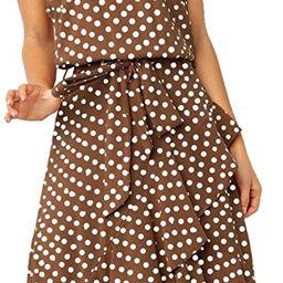 ECOWISH Womens Boho Polka-dot Tie Waist Irregular Cocktail Midi Dress Sleeveless Halter Neck Sexy...   Amazon (US)