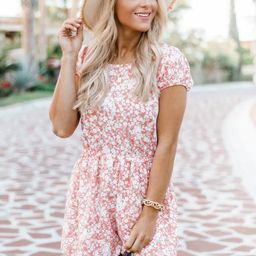 This Is Fate Floral Print Peach Romper | The Pink Lily Boutique