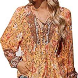 Womens Tunic Tops Floral Printed V Neck Blouses Boho Beach Casual Long Sleeve Shirts   Amazon (US)