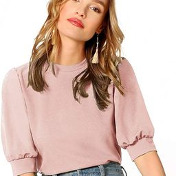 Women's Puff Sleeve Casual Solid Top Pullover Keyhole Back Blouse | Amazon (US)