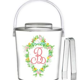 Easter Crest Personalized Ice Bucket, White | Taylor Beach Design