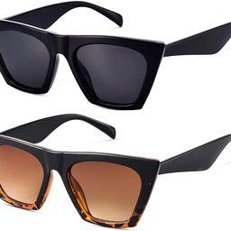 Mosanana Square Cateye Sunglasses for Women Fashion Trendy Style MS51801   Amazon (US)