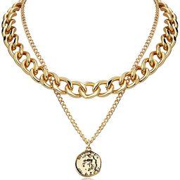 FAMARINE Gold Choker Layered Necklace for Women 4MM, Fashion Geometric Pandent 2 Layered Necklace... | Amazon (US)