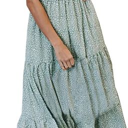 Zattcas Womens Summer Casual Short Sleeve Bohemian Floral Tiered Maxi Dress   Amazon (US)