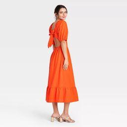 Women's Puff Elbow Sleeve Open Back Dress- Who What Wear™   Target