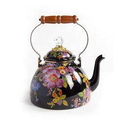 Flower Market 3 Quart Tea Kettle - Black | MacKenzie-Childs